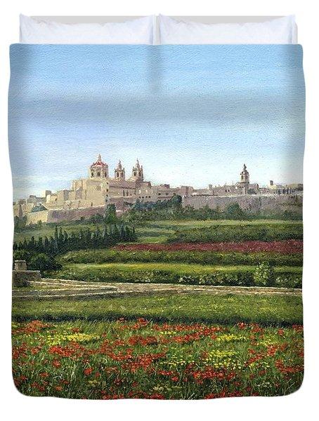 Mdina Poppies Malta Duvet Cover by Richard Harpum