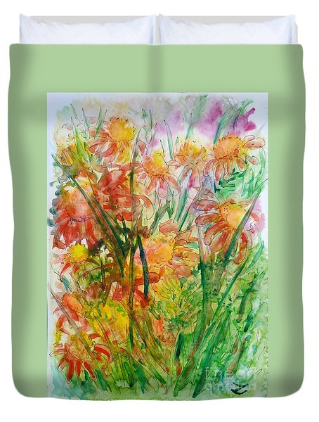 Meadow Flowers Duvet Cover by Zaira Dzhaubaeva