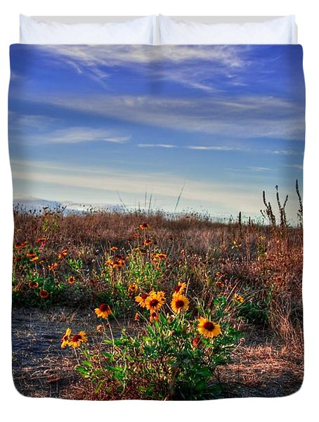 Duvet Cover featuring the photograph Meadow Of Wild Flowers by Eti Reid