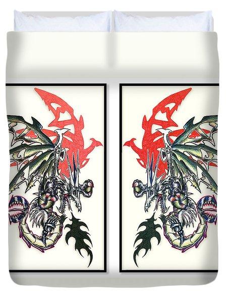 Mech Dragons Collide Duvet Cover