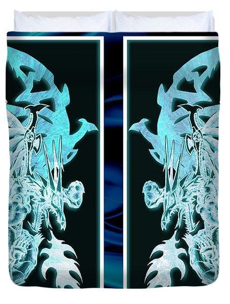 Mech Dragons Diamond Ice Crystals Duvet Cover