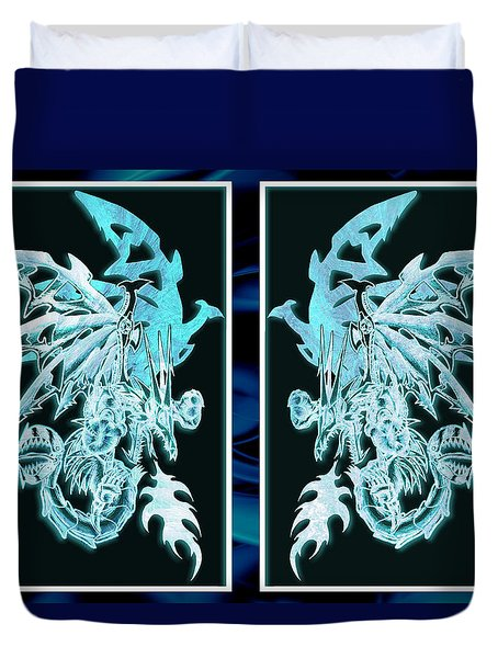 Mech Dragons Diamond Ice Crystals Duvet Cover