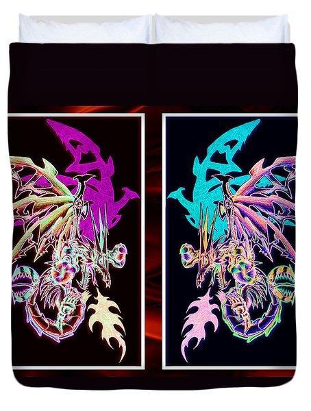 Mech Dragons Pastel Duvet Cover