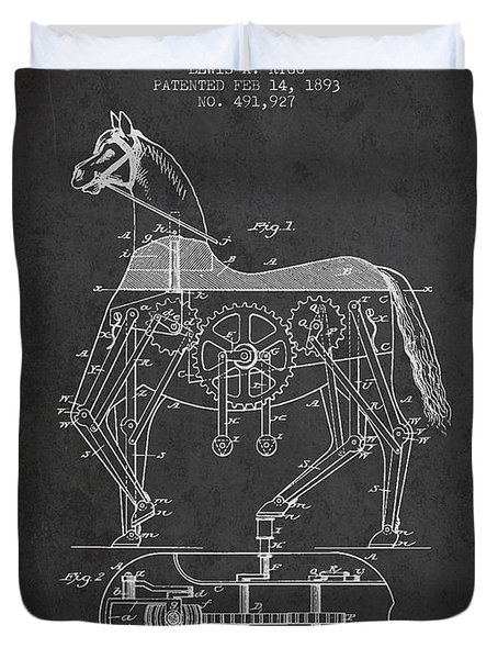 Mechanical Horse Patent Drawing From 1893 - Dark Duvet Cover by Aged Pixel