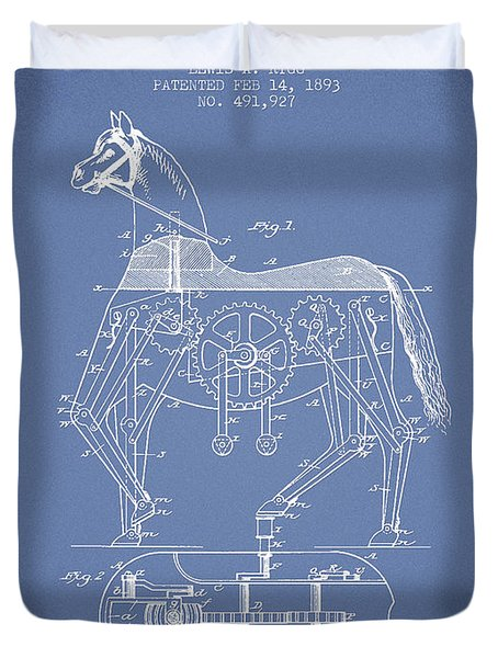 Mechanical Horse Patent Drawing From 1893 - Light Blue Duvet Cover by Aged Pixel