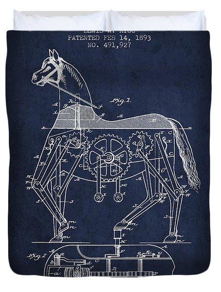 Mechanical Horse Patent Drawing From 1893 - Navy Blue Duvet Cover by Aged Pixel