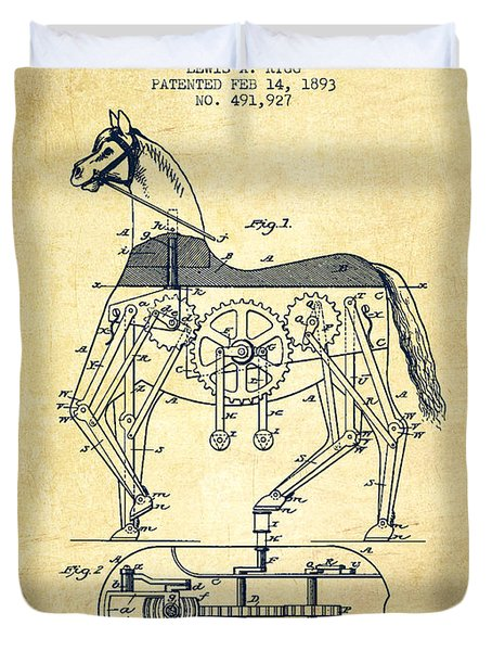Mechanical Horse Patent Drawing From 1893 - Vintage Duvet Cover by Aged Pixel