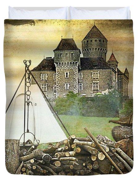 Medieval Castle Of Montrottier - France Duvet Cover by Barbara Orenya