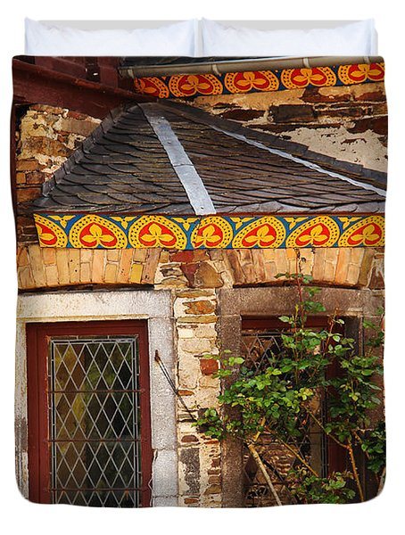 Medieval Window And Rose Bush In Germany Duvet Cover by Greg Matchick