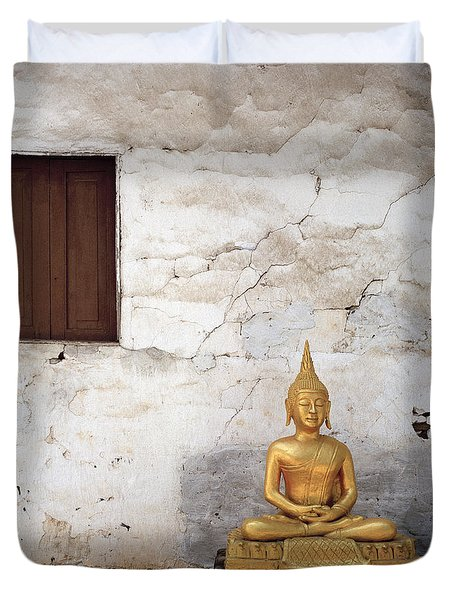 Meditation In Laos Duvet Cover