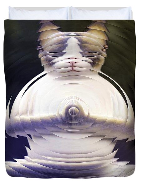 Meditation Kitty Duvet Cover