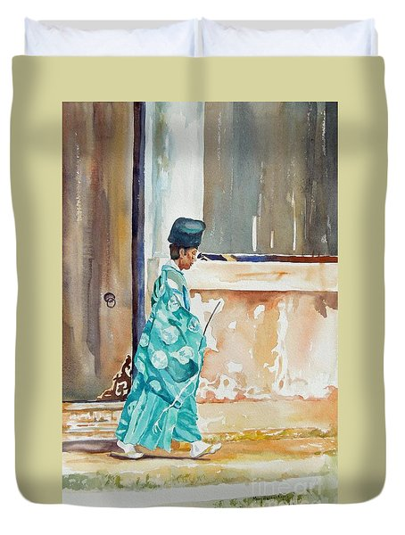 Duvet Cover featuring the painting Meditation  by Mary Haley-Rocks