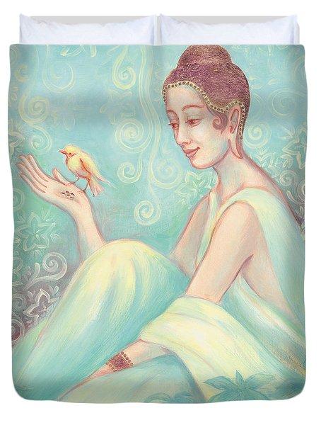 Meditation With Bird Duvet Cover by Judith Grzimek