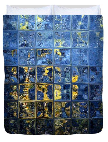 Mediterranean Blue. Modern Mosaic Tile Art Painting Duvet Cover