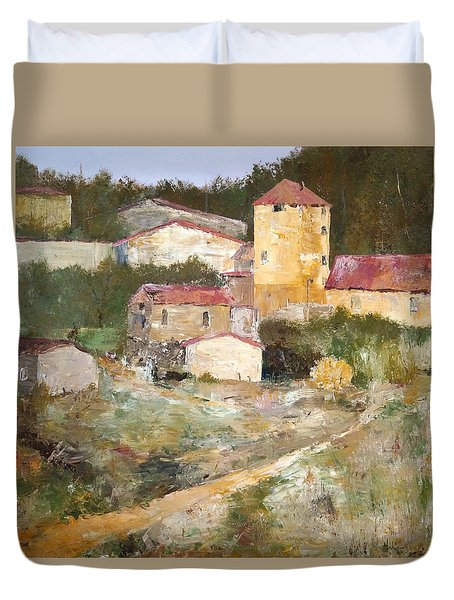 Duvet Cover featuring the painting Mediterranean Farm by Alan Lakin