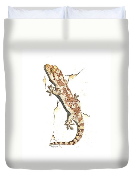 Mediterranean House Gecko Duvet Cover by Cindy Hitchcock