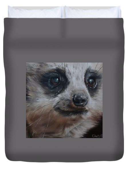 Duvet Cover featuring the painting Meerkat by Cherise Foster