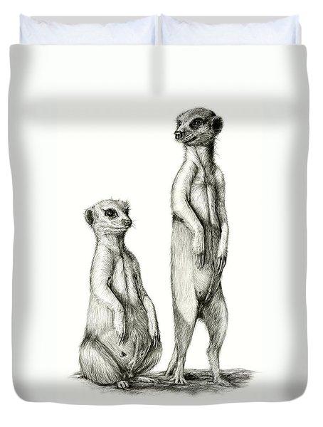 Duvet Cover featuring the drawing Meerkatte by Heidi Kriel