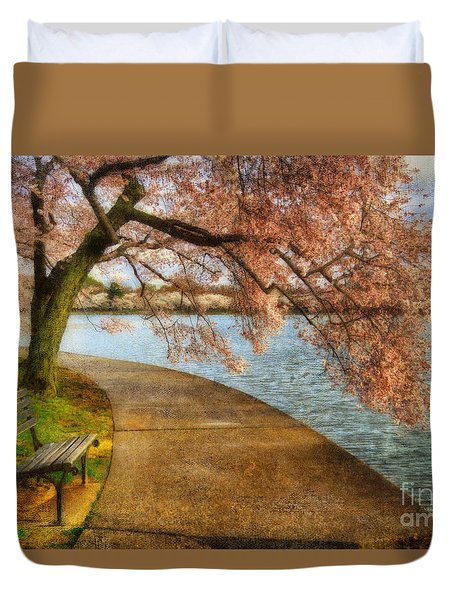 Meet Me At Our Bench Duvet Cover
