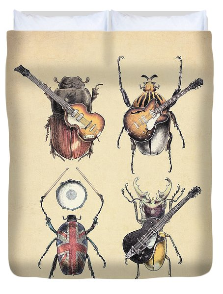 Meet The Beetles Duvet Cover by Eric Fan