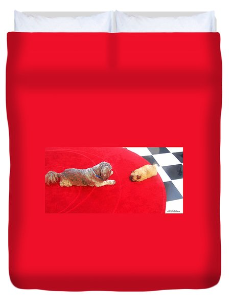 Dog And Puppy Pet Photography Lhasa Apso Shih Tzu Pomeranian   Duvet Cover