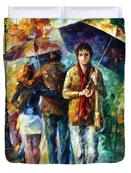 Meeting My Ex Duvet Cover by Leonid Afremov