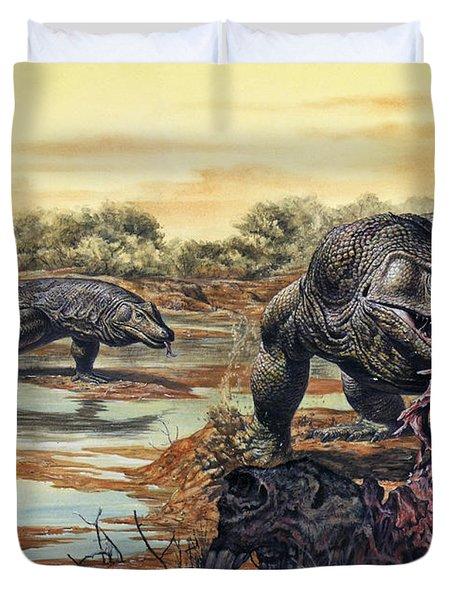 Megalania Giant Monitor Lizard Eating Duvet Cover