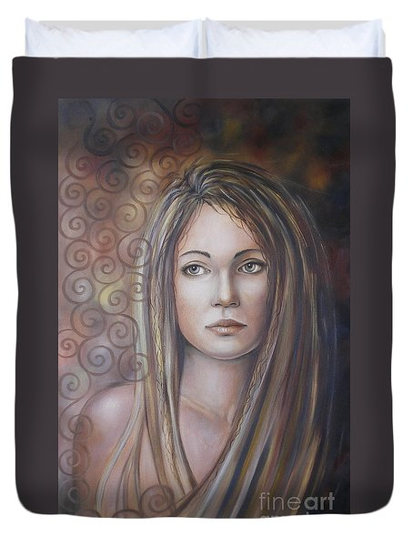 Duvet Cover featuring the painting Melancholy 080808 by Selena Boron