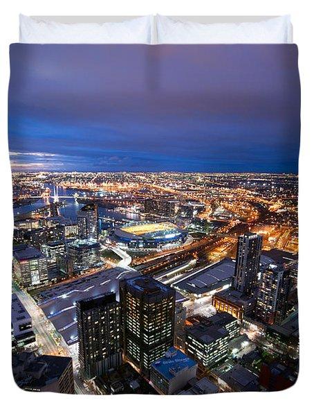 Melbourne At Night Duvet Cover