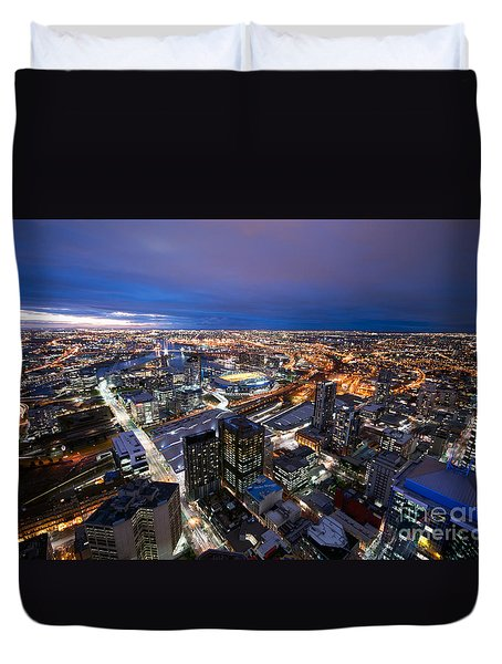 Melbourne At Night Duvet Cover