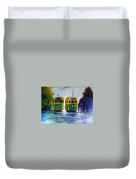 Duvet Cover featuring the painting Melbourne Trams by Therese Alcorn