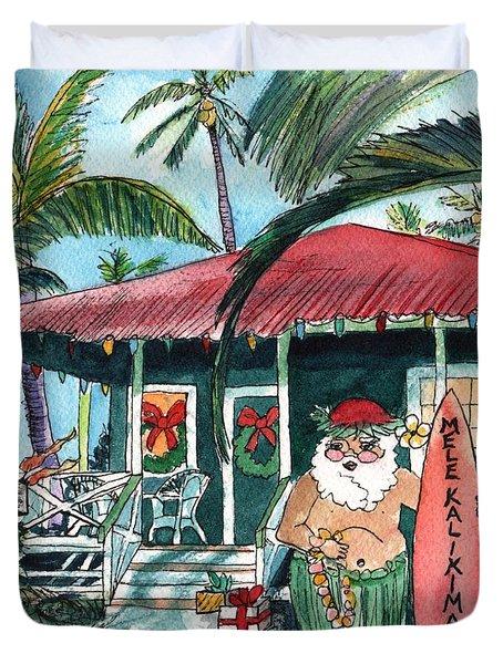 Mele Kalikimaka Hawaiian Santa Duvet Cover