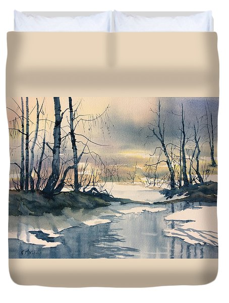 Melt Water On Skipwith Common Duvet Cover