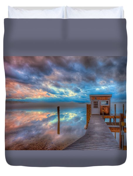Melvin Village Marina In The Fog Duvet Cover