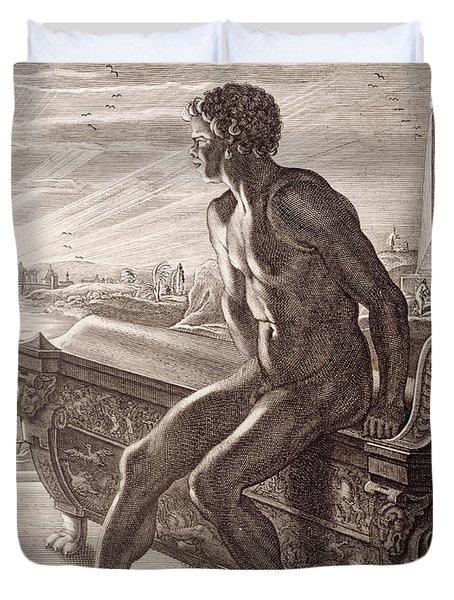 Memnon's Statue Duvet Cover by Bernard Picart
