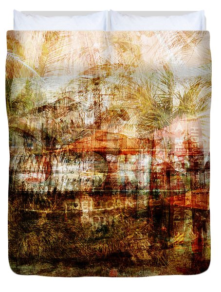 Duvet Cover featuring the mixed media Memories #1 by Sandy MacGowan