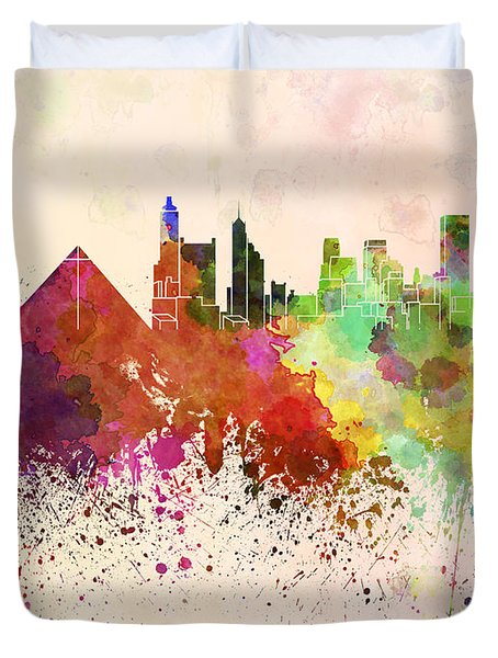 Memphis Skyline In Watercolor Background Duvet Cover by Pablo Romero