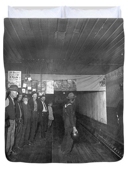 Men Bowling In 1890. Duvet Cover