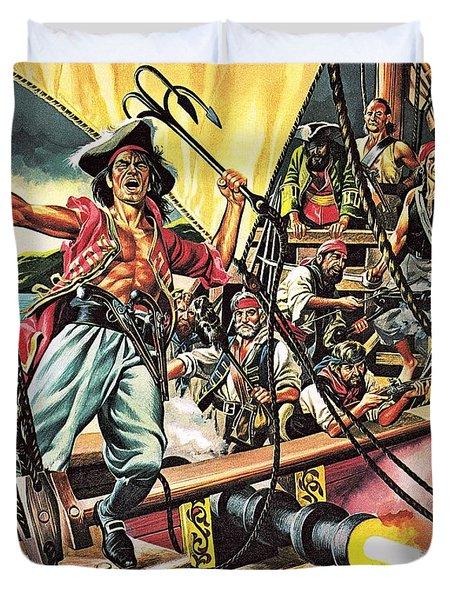 Men Of The Jolly Roger Duvet Cover by Ron Embleton