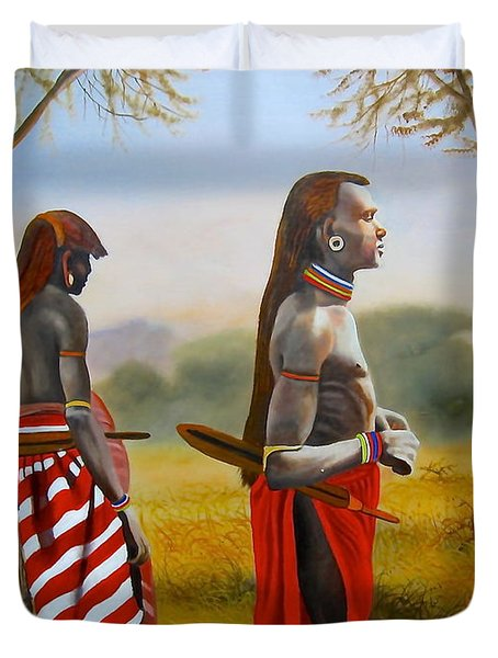 Men Of The Maasai Duvet Cover
