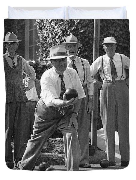 Men Playing Bocce Ball Duvet Cover