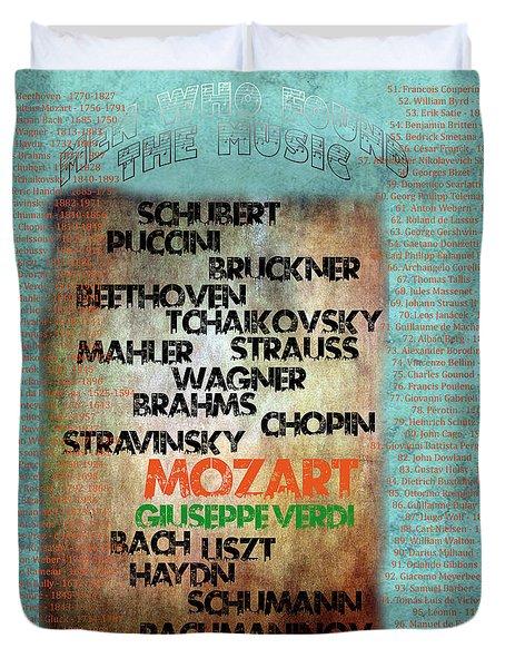 Duvet Cover featuring the digital art Men Who Found The Music by Gunter Nezhoda