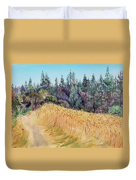 Mendocino High Grass Meadow At Susan's Place In July Duvet Cover