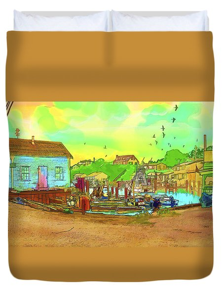 Menemsha Harbor Duvet Cover by Gerry Robins