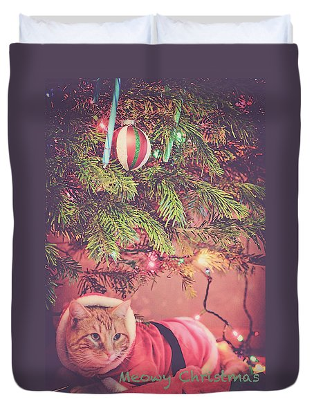 Meowy Christmas Duvet Cover