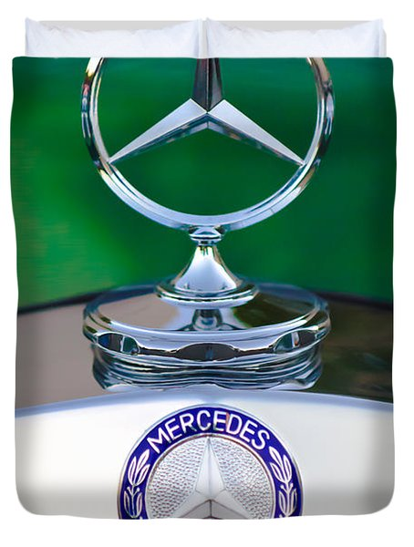 Mercedes Benz Hood Ornament 3 Duvet Cover by Jill Reger