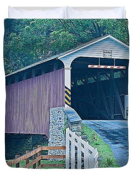 Mercer's Mill Covered Bridge Duvet Cover