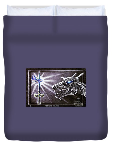 Duvet Cover featuring the drawing Merlin's Dragon by Hartmut Jager