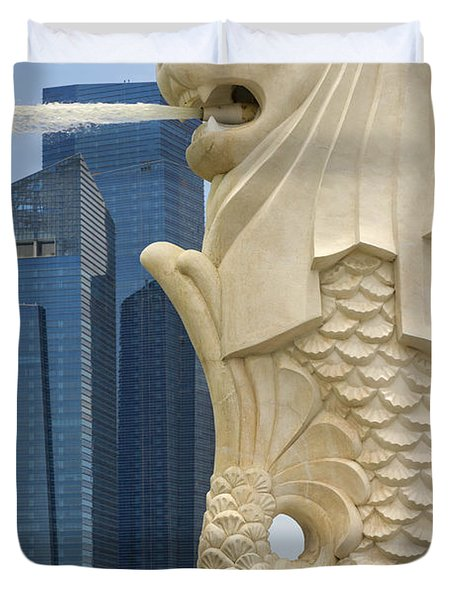 Merlion Statue By Singapore River Duvet Cover by David Gn