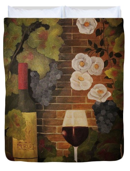 Merlot For The Love Of Wine Duvet Cover